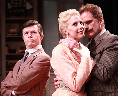 Joe Kirkendall, Elizabeth Marshall Black and Joel Sandel in the Main Street Theater's production of Heartbreak House. Photo by  RicOrnelProductions.com