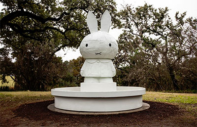 "Tom Sachs, Miffy Fountain, 2008. Silicon bronze and paint (three-part catalyzed acrylic, white primer, white base coat, ""Xtreme"" Flat Finish Klearkote). 108 x 102 x 102 inches. Courtesy Tom Sachs Studio."
