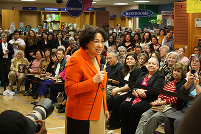 Sonia Sotomayor reading from her book My Beloved World at BookPeople in Austin. Photo courtesy of BookPeople.
