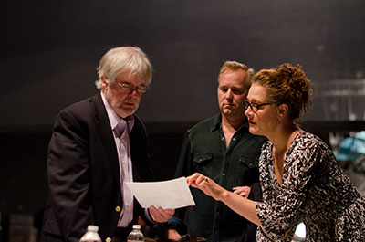 Christopher Durang, John Augustine and Kaitlin Hopkins in a playwrights in residence masterclass. Photo courtesy of Texas State University.