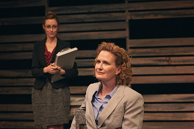 Meg Shideler (The Woman) and Julienne Greer (Juliana) in The Other Place by Sharr White. Photo by Leah Layman.