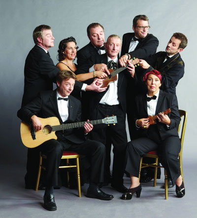 Ukulele Orchestra of Great Britain stops in Houston on November 20 and Auston on November 21-22.  Photo by Nigel Barklie.
