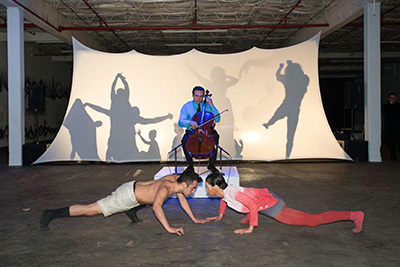 """Image courtesy of the Dallas Contemporary Photo from DGDG's commissioned performance, """"Packaged Garden,"""" at the Dallas Contemporary's BESPOKE in 2012 (Dallas, TX)."""