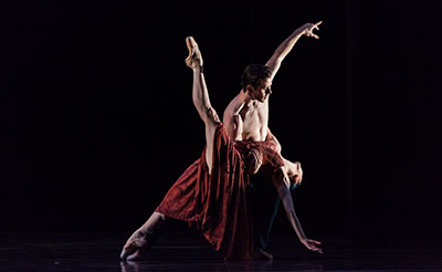 Houston Ballet Principals Melody Mennite and Connor Walsh in Stanton Welch's Maninyas. Photo by Amitava Sarkar.