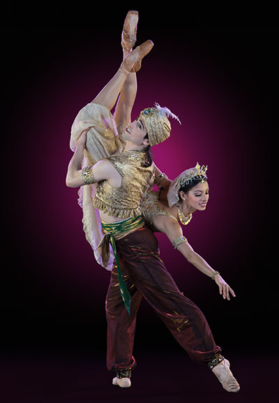 Houston Ballet Principals Joseph Walsh and Karina Gonzalez in Aladdin. Photo by Amitava Sarkar.