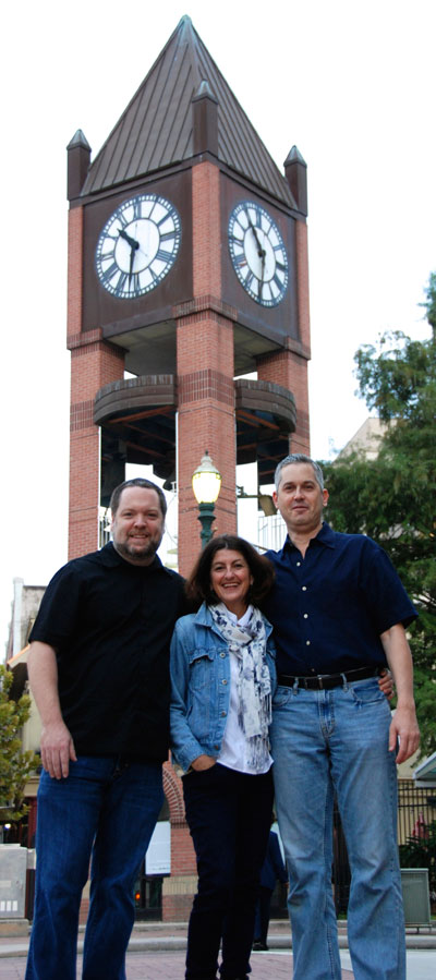 Chapman Welch, Jo Ann Fleischhauer and Anthony Brandt in front of What Time Is it? at Market Square. Photo by  Photo by Dakota Grusak.