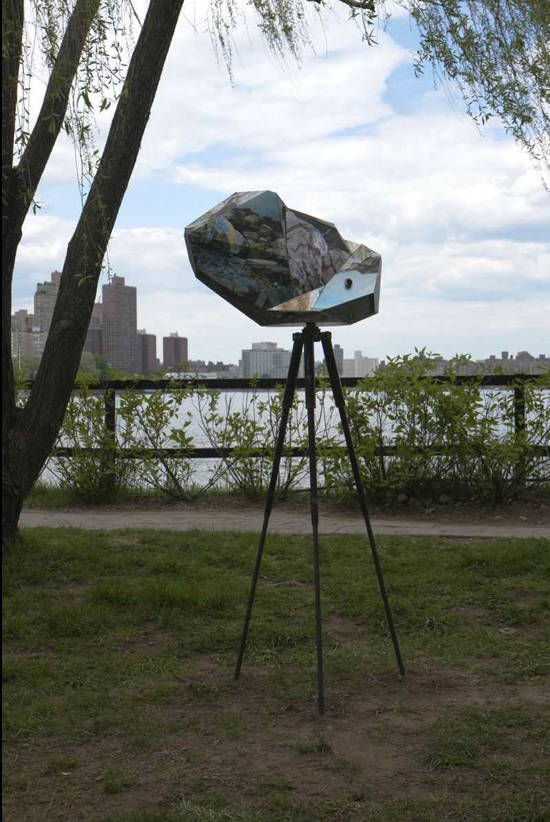 Relative Distants: small rock, 2011, Aluminum, steel, foam, 72 x 34 x 1  inches