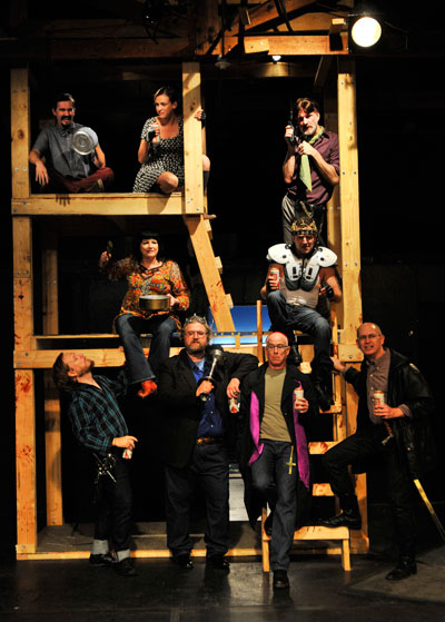 Jeffery Miller, Adriene Mishler, Jay Byrd, Barbara Chisholm, E. Jason Liebrecht, Robert S. Fisher, Lowell Bartholomee, Tom Green and Robert Faires in the Rude Mechs' production of Fixing King John. Photo by Bret Brookshire.