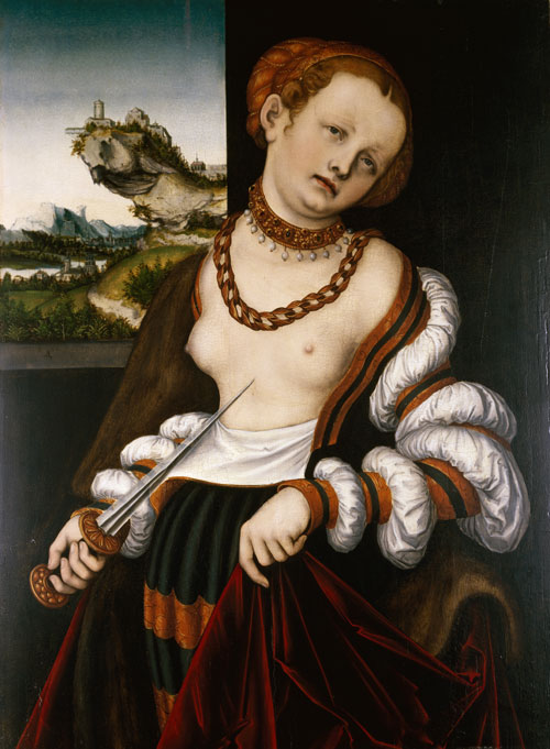 Lucas Cranach the Elder, Suicide of Lucretia, 1529. Oil on wood. Sarah Campbell Blaffer Foundation.