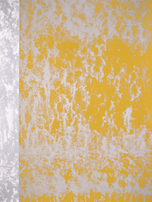 Water Rush (gold) silkscreen monoprint on Rives BFK 52x86 inches, 2012