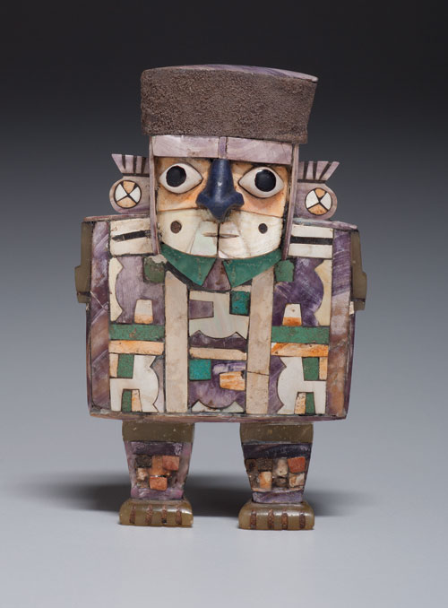 Figurine of a Standing Dignitary Wari culture, Peru, 600–1000 Wood, shell, stone, and silver, 4 x 2 ½ x 1 in. (10.2 x 6.4 x 2.5 cm) Kimbell Art Museum, Fort Worth Photo: Robert LaPrelle.