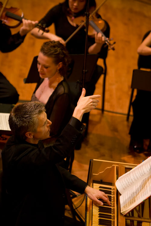 Matthew Dirst, Ars Lyrica Founder and Artistic Director and Ava Pine, soprano in a live performance of J.A. Hasse's Marc' Antonie e Cleopatra, nominated for a 2011 Grammy Award for Best Opera Recording. Photo credit: Anthony Rathbun.