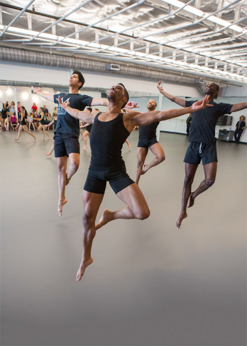 Houston Met dancers Kerry Jackson, Terrill Mitchell, Christopher Cardenas and Noa Tumpkin in The Houston Metropolitan Dance Center's new studios. Photo by: Ben Doyle.
