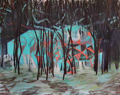 "Jonathan Faber (TX?11), Wake (2012), oil on canvas, 39 x 49.5"" (Courtesy the artist and Texas Biennial)."
