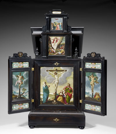 German, Cabinet with Altar for Private Devotions, 1601. Paintings attributed to Anton Mozart (1573–1625). Cabinet: Pear wood, ebonized walnut, oak, and conifer with brass mounts and fittings; paintings: oil on copper, Sarah Campbell Blaffer Foundation 2008.1