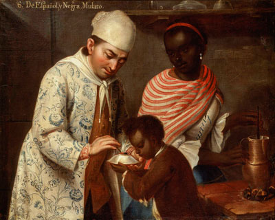 Attributed to Jose de Alcibar, 6. De Espanol y Negra. Mulato (6. From Spaniard and Black, Mulatto), c. 1760–70, oil on canvas, Denver Art Museum, Collection of Frederick and Jan Mayer. Image © Denver Art Museum.