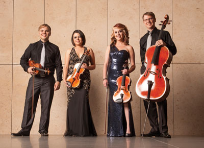 Houston's Apollo Chamber Players Matt Detrick, Anabel Ramirez, Whitney Bullock, and Matthew Dudzik.  Photo by Robert Seale.