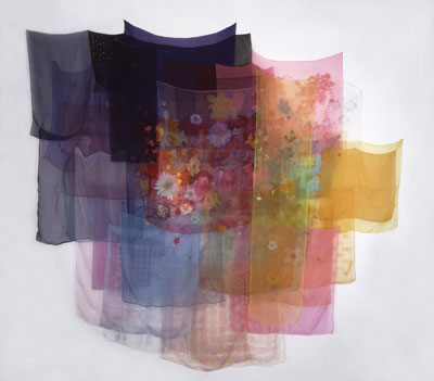 Jim Hodges With the Wind, 1997 Scarves and thread 90 x 99 in.  Photo by Alan Zindman, © Jim Hodges