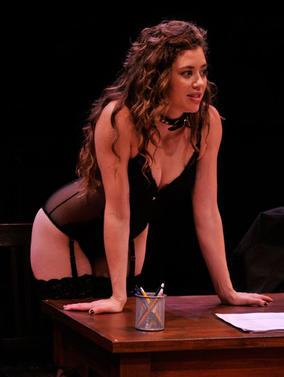 Nicole Rodenburg as Vanda in the Alley Theatre's production of Venus in Fur.  Venus in Fur. Photo by Jann Whaley.