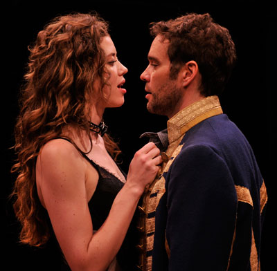 Nicole Rodenburg as Vanda and Michael Bakkensen as Thomas in the Alley Theatre's production of Venus in Fur. Photo by Jann Whaley.