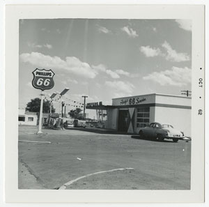 Snapshot related to Ed Ruscha's first artist book Twentysix Gasoline Stations, which was published in 1963. Image courtesy of the Harry Ransom Center.