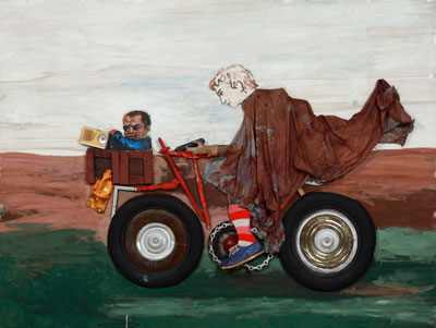 Antonio Berni, Juanito con la moto, c. 1972, oil, wood, and fabrics including glued cotton and sock; shoe; industrial trash including radio components, rubber tires, and plastic containers; metals including a chain and sheet metal, nails, and staples on wood, Private Collection. © José Antonio Berni.