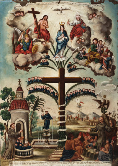 Nicolás Enríquez New Spain, active 1722-1780 Frutos de la Santa Cruz de los Milagros (Fruits of the Holy Cross of Miracles), ca. 1770 oil on copper On loan from Collection of the Family of Philip Wrench, L.2012.70 Photography by Peggy Tenison.