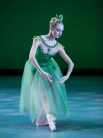 Madison Morris in the Houston Ballet production of Balanchine's Jewels. Photo by Amitava Sarkar.