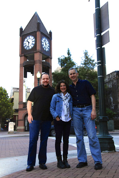 Chapman Welch, Anthony Brandt and Jo Ann Fleischauer in front of What Time Is It?  Photo by Dakota Grusak.