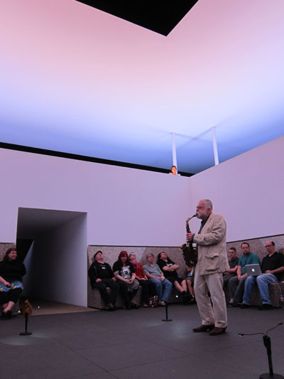 Peter Brötzmann performing inside James Turrell's Twilight Epiphany Photos by Pete Gershon.
