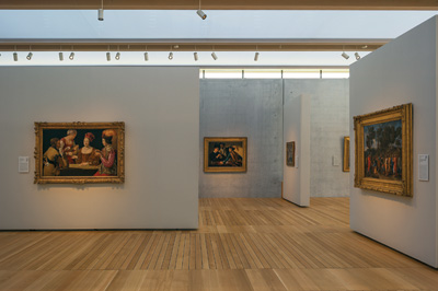 South gallery, featuring works by Georges de la Tour, Caravaggio and Nicolas Poussin. Renzo Piano Pavilion, November 2013 Kimbell Art Museum, Fort Worth. Photo by Robert Polidori.
