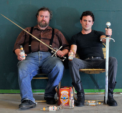 Lowell Bartholomee and  E. Jason Liebrecht in the Rude Mech's production of Fixin' King John. Photo by Bret Brookshire.