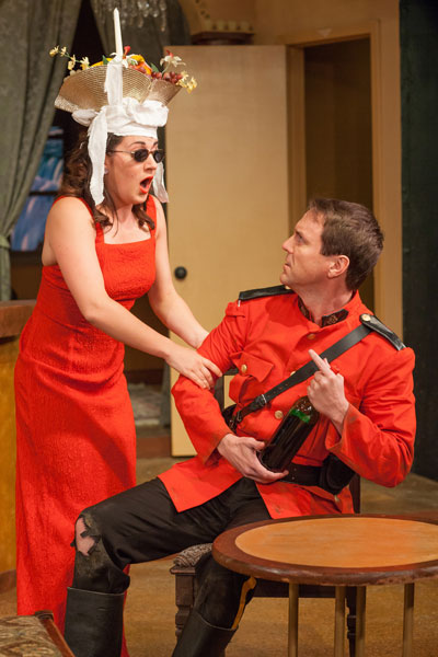 Jessi Little and Brad Stephens in Circle Theatre's production of Too Many Cooks.  Photo by Leah Layman.