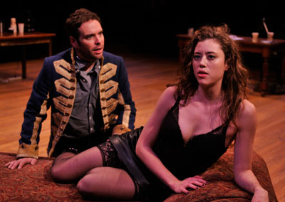 Michael Bakkensen as Thomas and Nicole Rodenburg as Vanda in the Alley Theatre's production of Venus in Fur.   Photo by Jann Whaley.