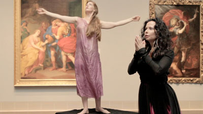 Meg Brooker and Misha Penton in Divergence Vocal Theater's production of   Klytemnestra, the original subversive female, a chamber opera by Dominick DiOrio, composer and Misha Penton, libretto, at the Museum of Fine Arts Houston. Photo by Dave Nickerson.