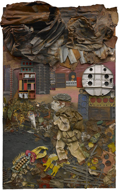 Antonio Berni, Juanito va a la Ciudad (Juanito Goes to the City), 1963, wood, paint, industrialtrash, cardboard, scrap metal, and fabric collage on board, the Museum of Fine Arts, Houston, Museum purchase with funds provided by the Caroline Wiess Law Accessions Endowment Fund. © Lily Berni