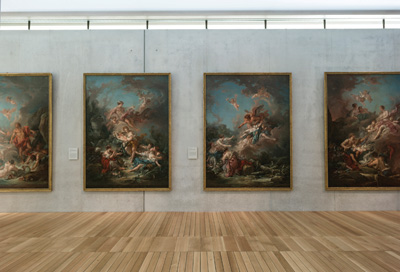 Works by François Boucher are on view in Permanent Collection, European Art to 1800 in the south gallery of the Kimbell's Renzo Piano Pavilion. Kimbell Art Museum, Fort Worth. Photo by Robert Polidori.