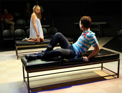 Jessica Renee Russell, Montgomery Sutton in Gruesome Playground Injuries at Second Thought Theatre. Photo by Karen Almond.