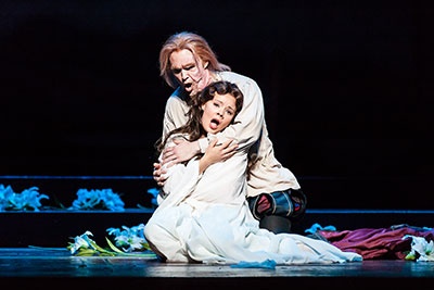 Houston Grand Opera Rigoletto: Ryan McKinny, Rigoletto; Uliana Alexyuk, Gilda ; Photo by Lynn Lane.