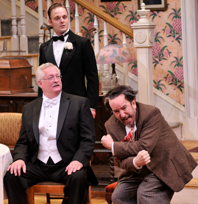 Paul Hope as Mr. Kirby, Jay Sullivan as Tony Kirby and John Tyson as Boris Kolenkhov in the Alley Theatre's production of You Can't Take It With You. Photo by Jann Whaley.