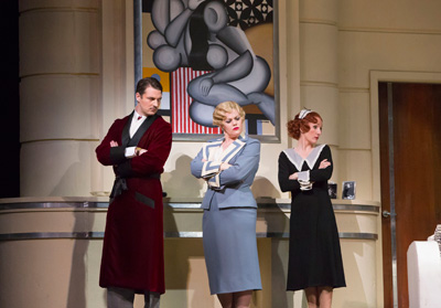 Liam Bonner, Wendy Bryn Harmer and Laura Claycomb in Houston Grand Opera's production of Die Fledermaus. Photo by Felix Sanchez.