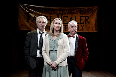 Philip Lehl,  Kim Tobin and John Tyson in Stark Naked Theatre's production of Faith Healer. Photo by Gabriella Nissen.