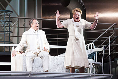 Joseph Kaiser as Walter and Michelle Breedt as Liese in The Passenger at Houston Grand Opera. Photo by Lynn Lane.