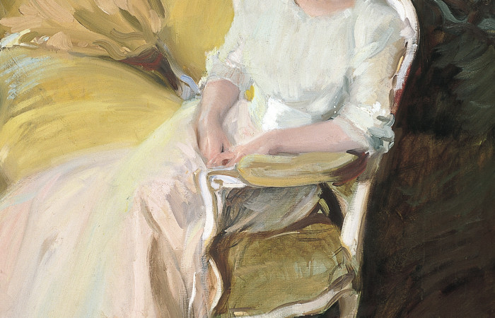 Joaquín Sorolla y Bastida (Spanish, 1863-1923), Clotilde Seated on a Sofa (detail), 1910, oil on canvas. Museo Sorolla, Madrid, Inv. 900