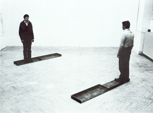 Franz Erhard Walther Standing Piece in Two Sections, 1975 Sheet iron Overall (each section): 3 1/8 x 81 1/8 x 13 3/4 in. (7.94 cm x 2 m 6.06 cm x 34.93 cm) Dallas Museum of Art, DMA/amfAR Benefit Auction Fund