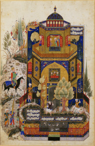 Khusraw at Shirin's palace Miniature from a manuscript of the Khamsa of Nizami Tabriz (Persia), late 15th century Ink, and pigments on paper 7 5/8 x 4 1/2 in. (19.5 x 11.5 cm) The Keir Collection of Islamic Art on loan to  the Dallas Museum of Art