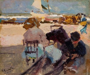 Joaquín Sorolla y Bastida (Spanish, 1863-1923), Valencia Beach, 1904 or 1905, oil on canvas laid on cardboard. Meadows Museum, SMU, Dallas. Given in honor of Dr. P. Gregory Warden by Dr. and Mrs. Mark L. Lemmon, MM.2012.02. Photo by Dimitris Skliris