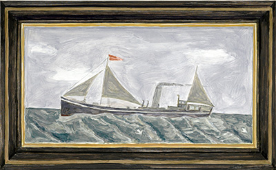 Francesca Fuchs Framed Painting: Boat, 2012 Acrylic on canvas over board, 19 x 31 Courtesy of the artist.