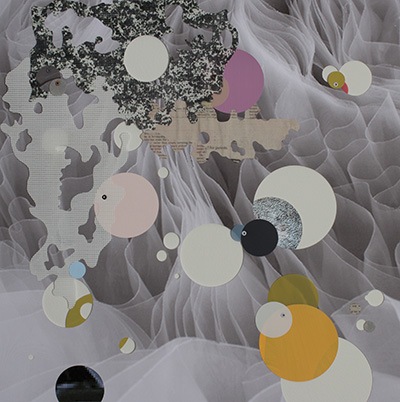 """Andrés Ferrandis Inercia, 2014 Collage on printed image 18 x 18"""" Courtesy of the artist and Ruiz-Healy Art."""