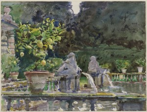 John Singer Sargent, Villa di Marlia, Lucca: A Fountain, 1910, translucent watercolor and touches of opaque watercolor and wax resist with graphite underdrawing, Museum of Fine Arts, Boston, The Hayden Collection—Charles Henry Hayden Fund. Photograph © 2013 Museum of Fine Arts, Boston